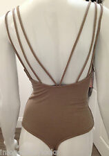 NEW BROWN NAKED WARDROBE PLUNGE BODYSUIT THONG UK 8/10