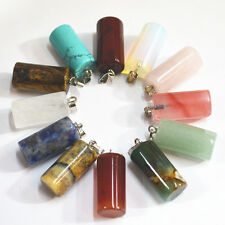 Lot 12pcs MIX Natural Stone Cylindrical shape Gemstone Necklace Pendant