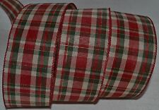 Wired Ribbon~Country Holiday Red Plaid~Christmas Green~Ivory~Wreath~Gift~Bow