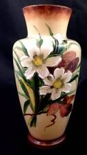 Bristol Opaline Custard Glass Vase Hand Painted White Flowers Floral Victorian