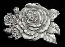 BEAUTIFUL STAND ALONE ROSE BELT BUCKLE FINE PEWTER DETAILED NEW!