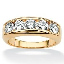 PalmBeach Men's 2.50 TCW Round Cubic Zirconia Wedding Band in 18k Gold over Ster