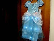 NEW DISNEY STORE PRINCESS CINDERELLA DRESS LIGHT UP COSTUME GIRLS SIZE 7-8 NWT