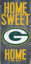 """GREEN BAY PACKERS HOME SWEET HOME WOOD SIGN and ROPE 12"""" X 6""""  NFL MAN CAVE!"""