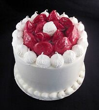 FAKE FOOD -  8 INCH  WHITE STRAWBERRY FAKE CAKE