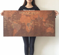 World Map Poster Vintage Huge Giant Kraft Retro Wall Bar Cafe coffee Cocoa Belt