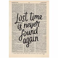 Lost Time Is Never Found Again Dictionary Print OOAK, Art, Inspirational, Quote