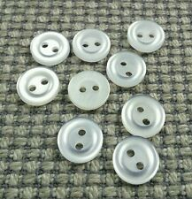 9 Vintage Bright White Shirt Buttons 12mm Baby Doll Clothes Card Making Crafts