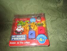 Fisher Price TRIO DC Super Friends Batman Joker Robin Building Set 2010 NEW hook