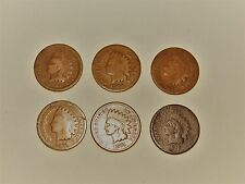 Indian Head Penny 6 Coin Lot -1864 BR-1865-1866-1871-1874-1877 KEY DATES