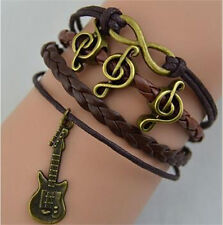 Infinity Guitar Music Friendship VINTAGE Copper Leather ROPE Charm Bracelet tr99