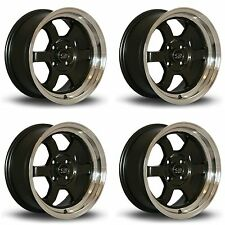 4 x Rota Grid-V Gunmetal / Polished Lip Alloy Wheels 15x7"