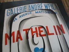 AFFICHE GALERIE ANDRE WEIL -  LUCIEN MATHELIN  1960 LITHOGRAPHIE ORIGINALE 63X47