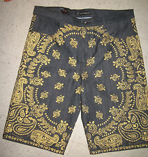 Handsome KING MAKER BLACK GOLD FOIL PAISLEY BANDANA Denim Shorts sz 40 SWAG
