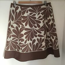 Boden Skirt Size 14 Brown Cream Print Cotton Skirt