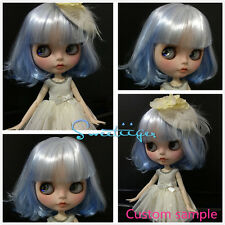 "Takara 12"" Neo Blythe blue white Bob hair Factory Nude doll for Custom Use"