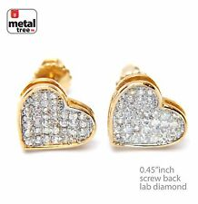 14kt Gold Plated Micro Pave Lab Diamond Caved Heart Screw Back Earring 921 G
