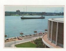 Cobo Arena & Detroit River Michigan USA Postcard 443a