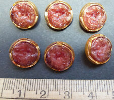 1930s Crimson Flower Vintage Glass Buttons - 1.3cm - 6 of them