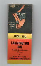 Farmington CA Farmington Inn Risque Pinup Matchbook 40s-50s