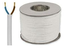 White Round Flexible Cable 2182Y 2 Core 0.5mm 3 Amp 25m Flex - Drum or Coil