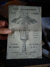 Ancienne Quittance d'Eclairage au Gaz Ville d'Issoire 1912 Bobèche Manchon Verre