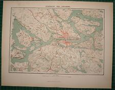 1878 ANTIQUE MAP ~ STOCKHOLM CITY PLAN ENVIRONS DROTTNINGHOLM