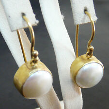 Handmade Ancient Turkish Jewelry Pearl Earring Gold Over Sterling Silver