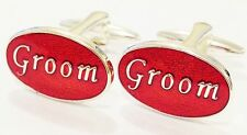 NOVELTY GROOM RED OVAL FIANCÉE WEDDING  MENS DRESS CUFF LINKS CUFFLINKS (#1068)