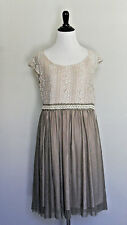 NWD M A'reve cream lace overlay taupe tulle dress Modcloth vintage Mocha Maven