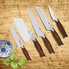 German Steel 1.4116 Pakkawood Handle Chef Paring Santoku Cleaver Utility Knife