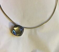 BACCARAT Medicis Cabochon Crystal Sterling Mordore 18K Backing Necklace (AS IS)