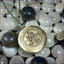 Memento Mori Gothic Victorian Antique Bronze Glass Keepsake Locket Necklace