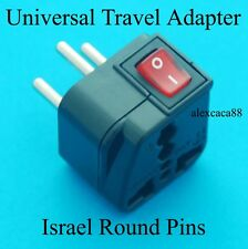 Universal USA AUS UK to Israel Round Pins Travel Adapter AC Power Plug + Switch