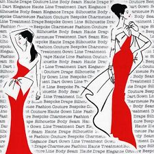 CITY CHIC Ball Gown Beauty LIPSTICK RED Fabric FQ Newsprint TEXT Fashion FONT