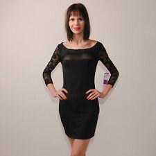 Neu Sexy Minikleid Party Fest Kleid Abendkleid Tüll Transparent Spitze 34 36