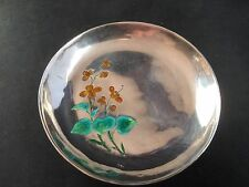 Signed Antique Chinese White Metal & Enamel Trinket Tray Enamelled Enamelling