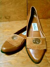 Vtg Bellini Brown Leather Loafers Moccasin Copper Coat of Arms Women's 6M Brazil