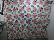 Vintage Hand Sewn Quilt Top- Flower Pattern w/Scalloped Edge