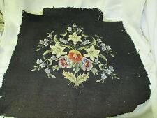Vintage wool Needlepoint Seat Cover floral pattern on black wool