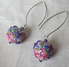Purple and Pink Lampwork Glass Globe Earrings with Long Earwires