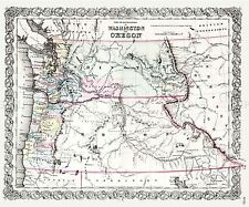 Mappa ANTICA 1853 Colton Washington OREGON grandi REPLICA poster stampa pam1722