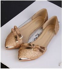 Fashion Shoes Loafers Pointed Metal Toe Flat Heels Pumps Slip On OL Women Sandal