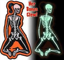 Patch Skeletal Girl Glow in the Dark Rear Dead Pin Up Rockabilly Horror NFP032