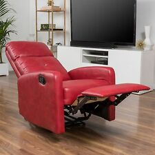 Contemporary Red Leather Recliner Club Chair