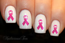 Pink Ribbon Nail Wraps Art Water Transfer Decal So Beautiful 21pcs ST8117