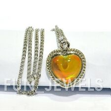 Beautiful Vintage Multi Color Changing Heart Mood Stone Necklace Free Chart
