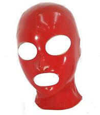 Red Latex Bondage Hood Zipper Back Natural Rubber