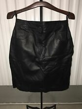 """Excelled Black Leather Skirt Womens size 12 Stretchy Sides 24"""" Length! Free Ship"""