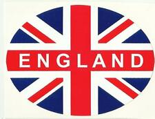 England With Union Jack Flag Oval External Car Bumper Sticker Decal